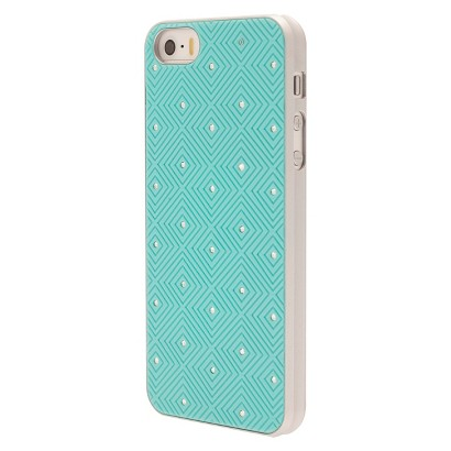 Mobiliving Diamond with Gems Cell phone Case for iPhone 5/5S - Turquoise (CO8071)
