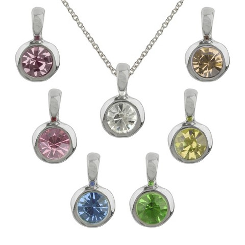 "Women's Pendant  7 Interchangeable Round Bezel on Cable Chain and Extender - Silver/Multicolor (18+3"")"