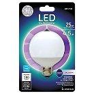 GE LED 25-Watt CAM G25 Light Bulb - Soft White, White Bulb