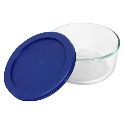 Pyrex Storage 2-cup Round, Dark Blue Plastic Cover, Clear