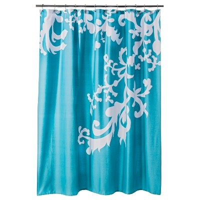 SHOWER CURTAIN THR MODERN FLORAL LIGHT TURQ