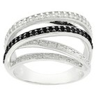 1/4 CT.T.W. Diamond Black and White Multi Band Ring with Silver Overlay