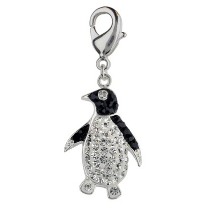 Women's Jezlaine® Charm Silver Plated Penguin - Silver/Black/Clear