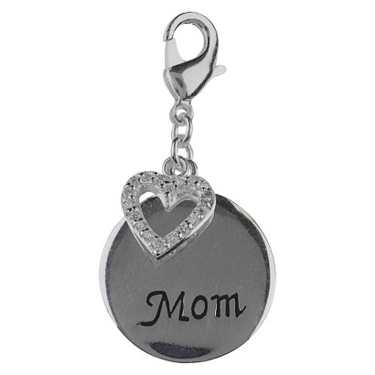 Women's Jezlaine® Charm  Silver Plated Mom Heart - Silver/Black/Clear