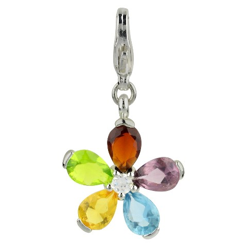 Women's Jezlaine® Charm Silver Plated Faceted Flower - Silver/Multicolor
