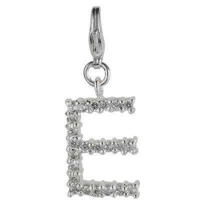 Women's Jezlaine® Charm Silver Plated Crystal 'E' Initial - Silver/Clear
