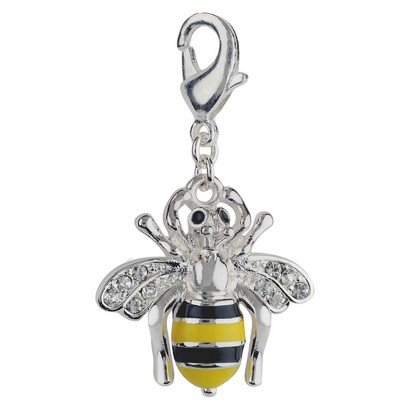 Women's Jezlaine® Charm Silver Plated Honey Bee - Silver/Black/Yellow