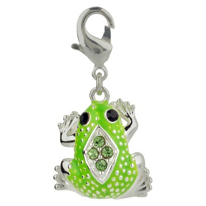 Women's Jezlaine® Charm Silver Plated Frog - Silver/Green/Black