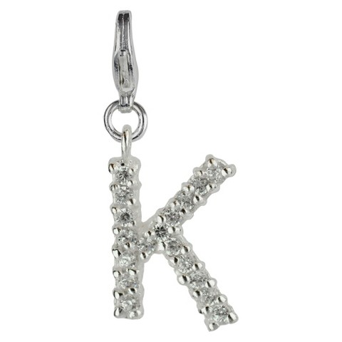 Women's Jezlaine® Charm Silver Plated Crystal 'K' Initial - Silver/Clear