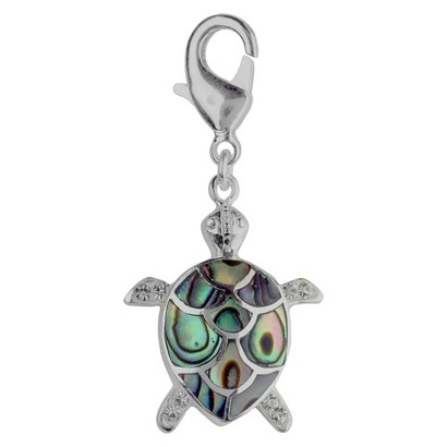 Women's Jezlaine® Charm Silver Plated Abalone Crystal Turtle - Silver/Multicolor