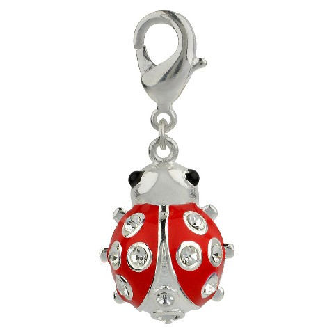 Women's Jezlaine® Charm Silver Plated Lady Bug - Silver/Red/Clear