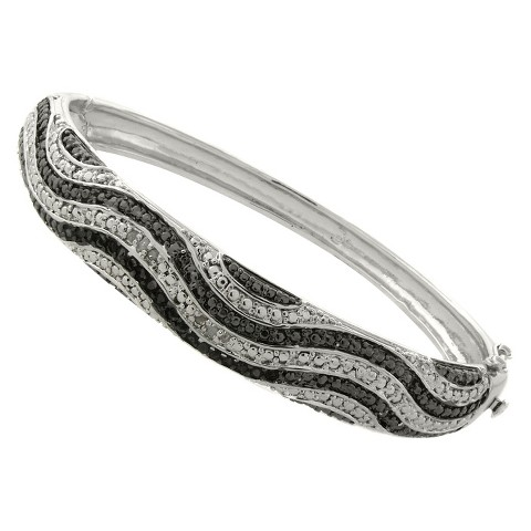 1/4 CT.T.W. Diamond Black and White Wave Bangle