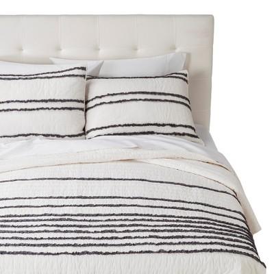 Twin XL Ruffle Quilt Set - White/Gray