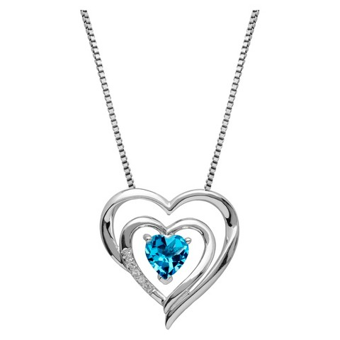 Topaz Dual Heart Pendant Necklace in Sterling Silver with Assorted Birthstones