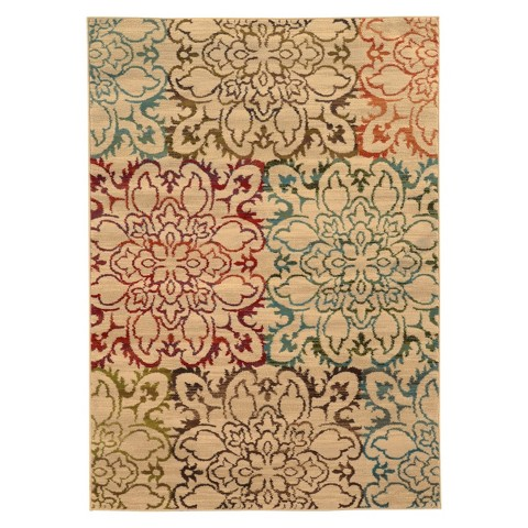 Floral Area Rug - Tan