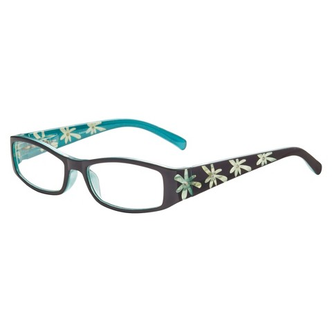 ICU Blue Etched Floral Rhinestones Reading Glasses with Case