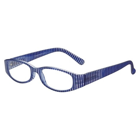 ICU Nautical Blue Striped Rectangle Reading Glasses With Case