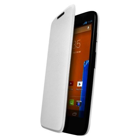 Motorola Flip Shell for Moto G Cell Phone Case - White (ASMFLPCVWH)