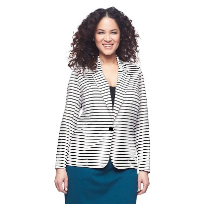 Women's Plus Size Ponte Jacket  Black/White