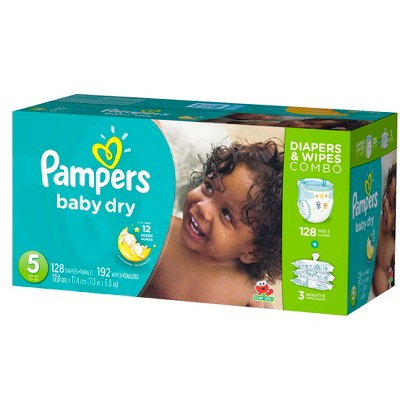 Pampers Baby Dry Diapers & Wipes Combo Pack (Select Size)