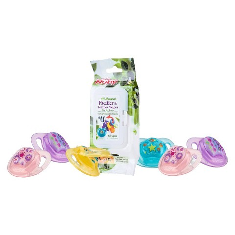 Nûby 6pk Natural Touch Comfort Pacifier and 48pk Citroganix Pacifier Wipes - 6-12+ Months
