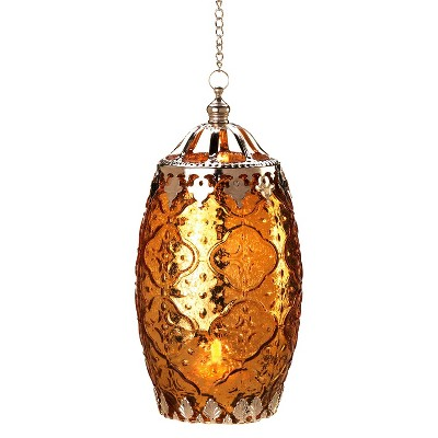 "Empire Lantern Candle Holder 8"" - Amber"