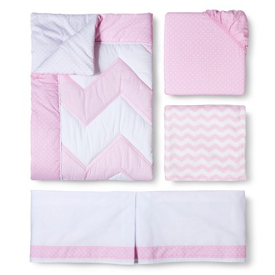 4pc Crib Bedding Set - Zigs 'n Zags Pink - Circo™
