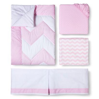 Circo® Zigs 'n Zags Pink 4pc Crib Bedding Set