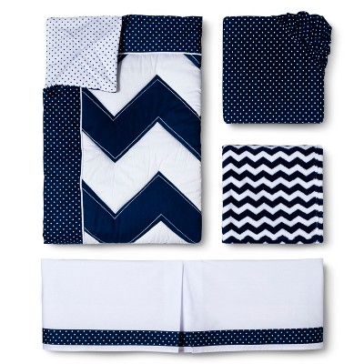Circo™ 4pc Crib Bedding Set - Zigs 'n Zags Navy
