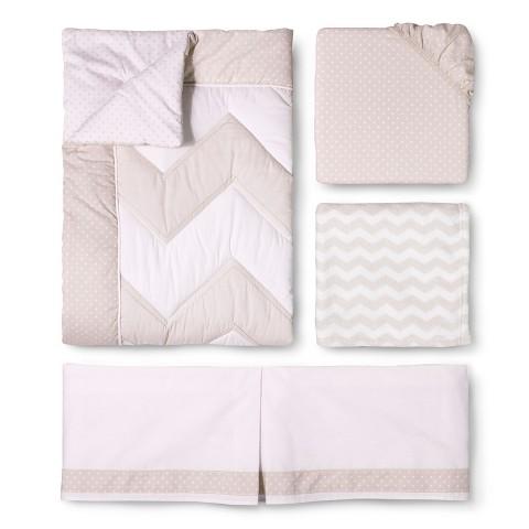 Circo® 4pc Crib Bedding Set - Zigs 'n Zags Khaki