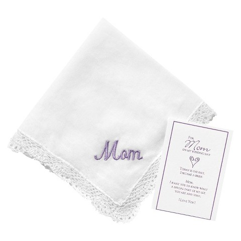 Mom Embroidered Hanky - Lavender