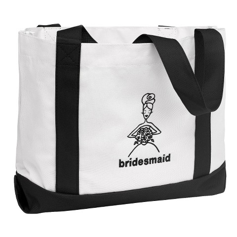 Bridesmaid Canvas Wedding Gift Tote Bag - White/Black