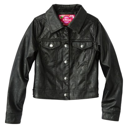Dollhouse Girls' Faux Leather Quilted Jacket