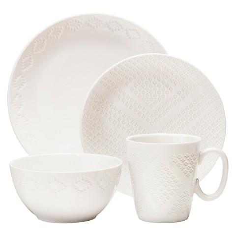 Nate Berkus™ Textured Diamond 16-Piece Dinnerware Set - White