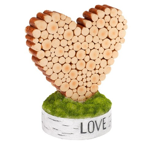 Wooden Heart Shaped Wedding Cake Topper