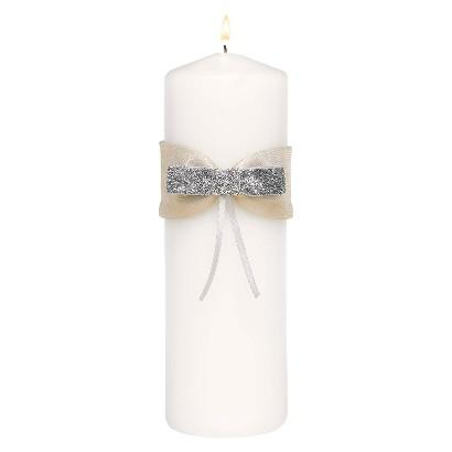Metallic Sparkle Unity Candle - White