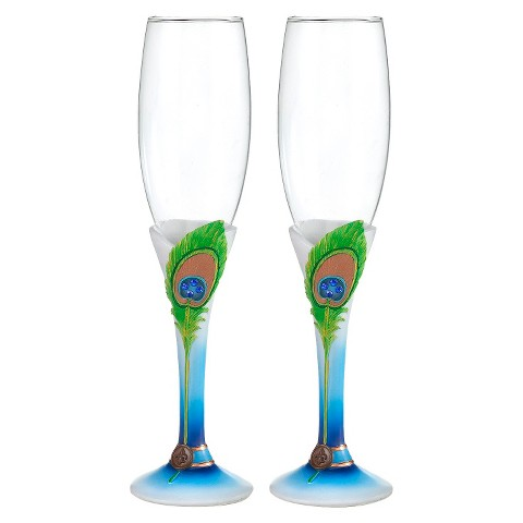 Peacock Wedding Champagne Flutes (set of 2)