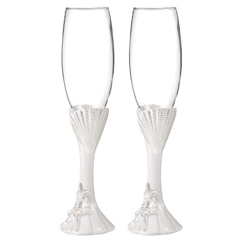 Starfish Wedding Champagne Flutes