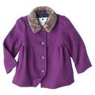 Infant Toddler Girls' Polka Dot Peacoat with Faux Fur Trim
