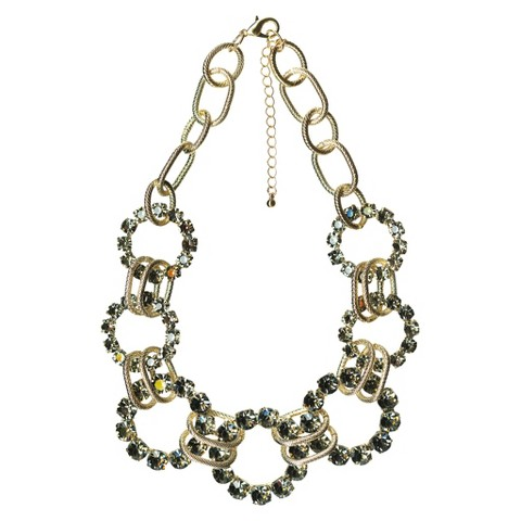 Women's Textured Link Stone Frontal Necklace - Gold/Black