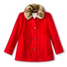 Infant Toddler Girls' Peacoat with Faux Fur Trim