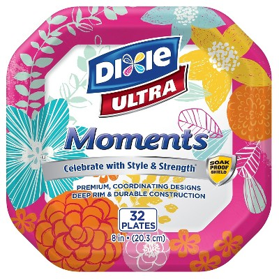 "Dixie Ultra Moments Square Summer Plates - 8"" - 32ct"