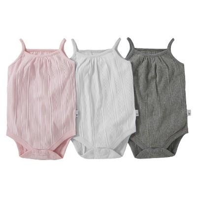 Burt's Bees Baby™ Infant Toddler Girls' 3- pack Sleeveless Bodysuit - Ivory/Pink/Grey 12 M