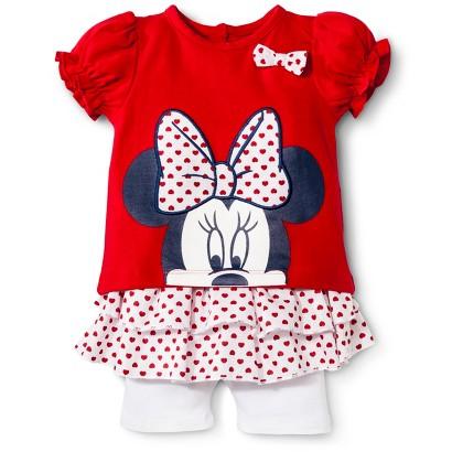 Disney® Newborn Girls' 2 Piece Minnie Mouse Set - Red