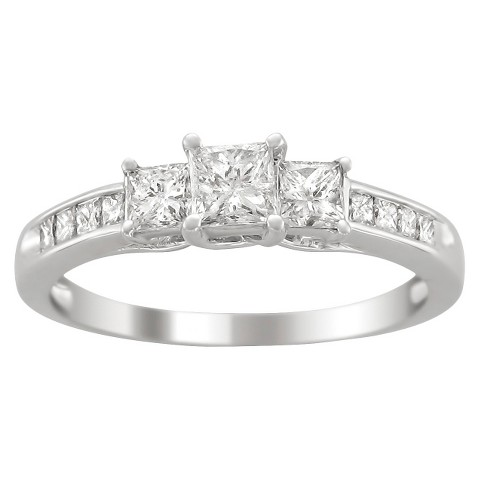 1 CT.T.W. 3 Stone Diamond Ring in 14K White Gold - In Assorted Sizes