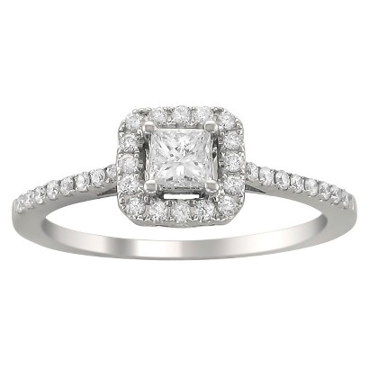1/2 CT.T.W. Diamond Halo Ring in 14K White Gold - In Assorted Sizes