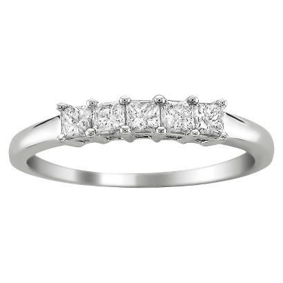 1/2 CT.T.W. 5 Stone Band Ring in 14K White Gold - In Assorted Sizes
