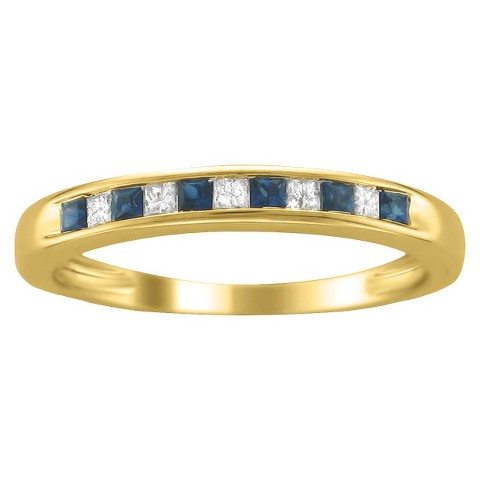 1/3 CT.T.W. Diamond and Sapphire Band Ring in 14K Yellow Gold - In Assorted Sizes