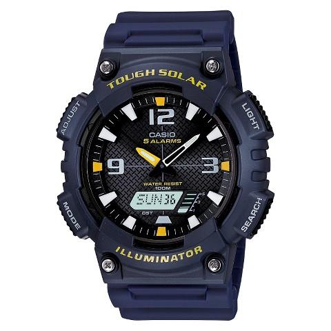 Men's Casio Blue Solar Powered Analog-Digital Sport Watch - Navy Blue (AQS810W-2AV)