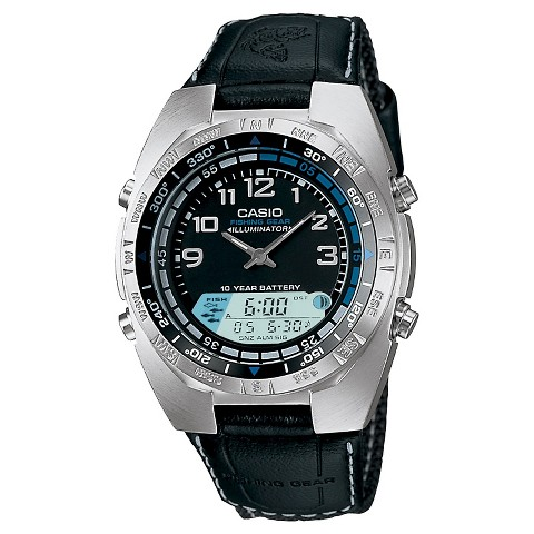Men's Casio Ana-Digi Forester Fishing Timer Watch with Leather Band - Black (AMW700B-1AV)